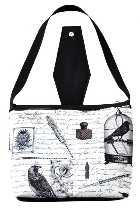 Edgar Ravens and Poetry Purse with Coffin Flap - Open Flap
