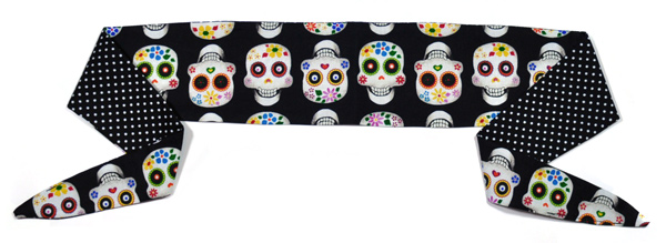 Sugar Skulls and Black and White Polka Dots Headband